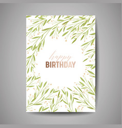 Birthday greeting card invitation with flowers vector
