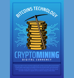 bitcoin mining crypto currency coins vector image