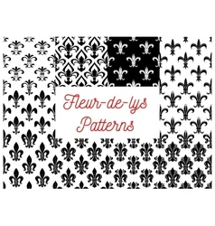 Black and white fleur-de-lis seamless patterns set vector image