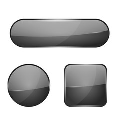 Black glass buttons web 3d shiny icons vector