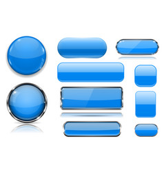 blue glass buttons collection 3d icons vector image