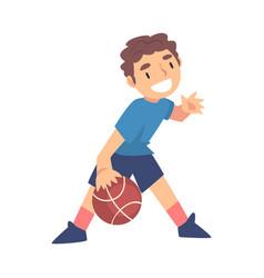 Boy playing basketball kid doing sports healthy vector