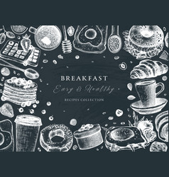breakfast table top view frame on chalk board vector image