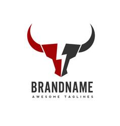 bull head power logo concept vector image
