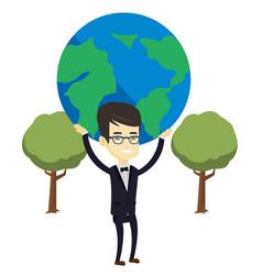 Business man holding globe vector