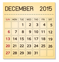 calendar 2015 12 December vector image