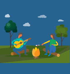 Camping in evening people sitting by bonfire vector