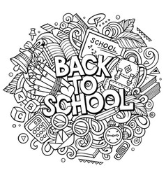 Cartoon cute doodles back to school phrase vector