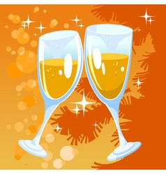 Christmas orange background with two glasses vector image