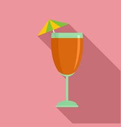 Cocktail umbrella icon flat style vector