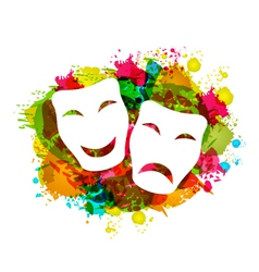 Comedy and tragedy simple masks for carnival vector