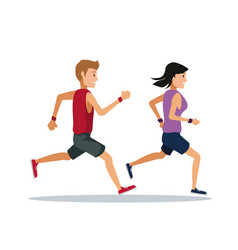 couple running over white background vector image