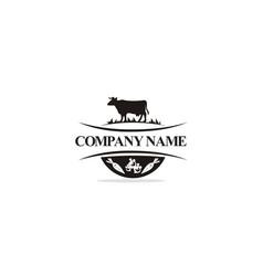 cow ranch farm logo vector image