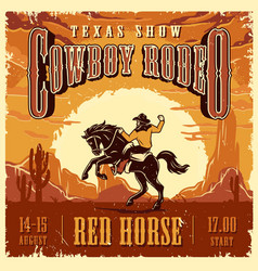 cowboy rodeo show advertising template vector image