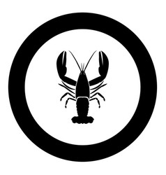 Craw fish icon black color in circle vector
