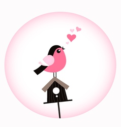 Cute Valentine Bird with a Birdhouse vector image