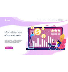 Data monetization concept landing page vector