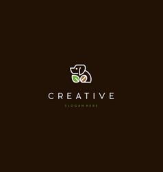 Dog line with naturally coffee creative logo desig vector