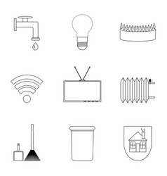 domestic services icon lineart set vector image