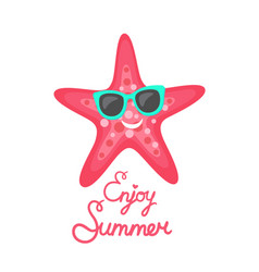 Enjoy summer pink starfish wearing sunglasses vector