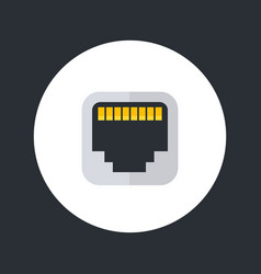Ethernet port icon flat style vector