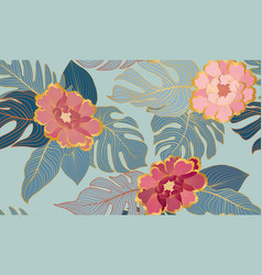 floral seamless pattern with tropical leaves and vector image