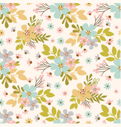 flower meadow hand drawn seamless pattern vector image