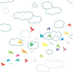 flying birds and clouds vector image vector image