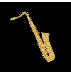 Gold Musical Instrument Saxophone that Plays Jazz vector image