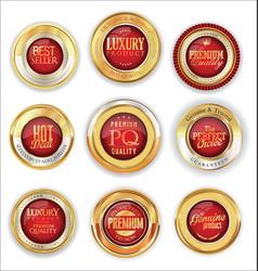 Golden luxury badges retro design collection vector