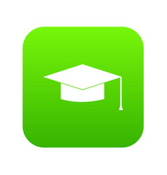 graduation cap icon digital green vector image