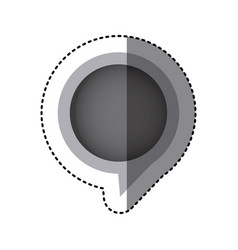 grayscale sticker of circular speech with tail in vector image