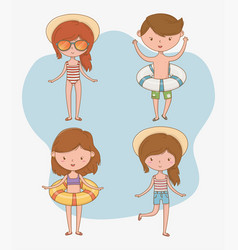 group kids with beach suits vector image