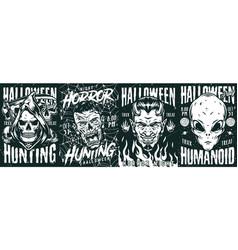 Halloween night monochrome vintage posters vector