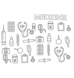 hand drawn medicine set coloring book page vector image