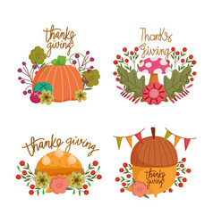 happy thanksgiving day collection lettering vector image