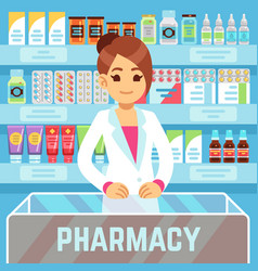Happy young woman pharmacist sells medications in vector