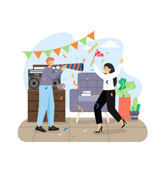home party happy couple dancing and having fun vector image