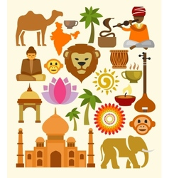 india icon set vector image