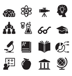 Learning smart genius icons set vector