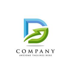 Letter d lightning logo icon design template vector
