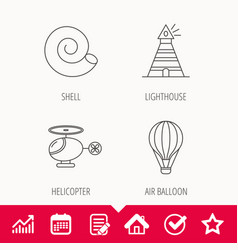 Lighthouse air balloon and helicopter icons vector