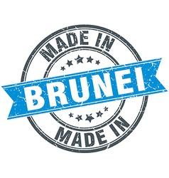 made in Brunei blue round vintage stamp vector image