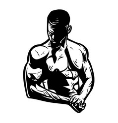 Man bodybuilding showing muscle for club team vector