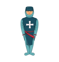 Man in blue uniform with cross on his chest icon vector
