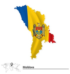 Map of moldova with flag vector