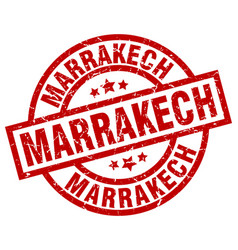 Marrakech red round grunge stamp vector