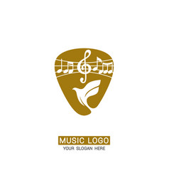 Music logo dove and treble clef against backg vector