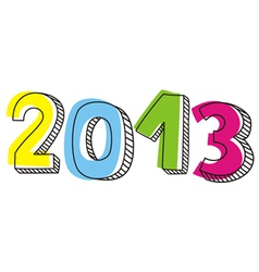 New Year 2013 hand drawn doodle sign vector image