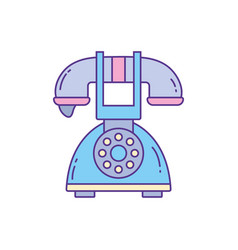 old telephone phone fill and line vector image